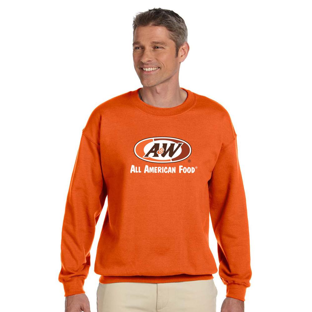 Man wearing orange sweatshirt with A&W Restaurants logo in the center.