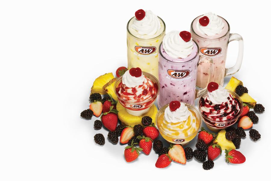 Overhead photo of Real Fruit Shakes and Sundaes. 3 Shakes featured in the photo - Pineapple, Blackberry, and Strawberry. Below the Shakes is a Strawberry Sundae, Pineapple Sundae, and Blackberry Sundae.