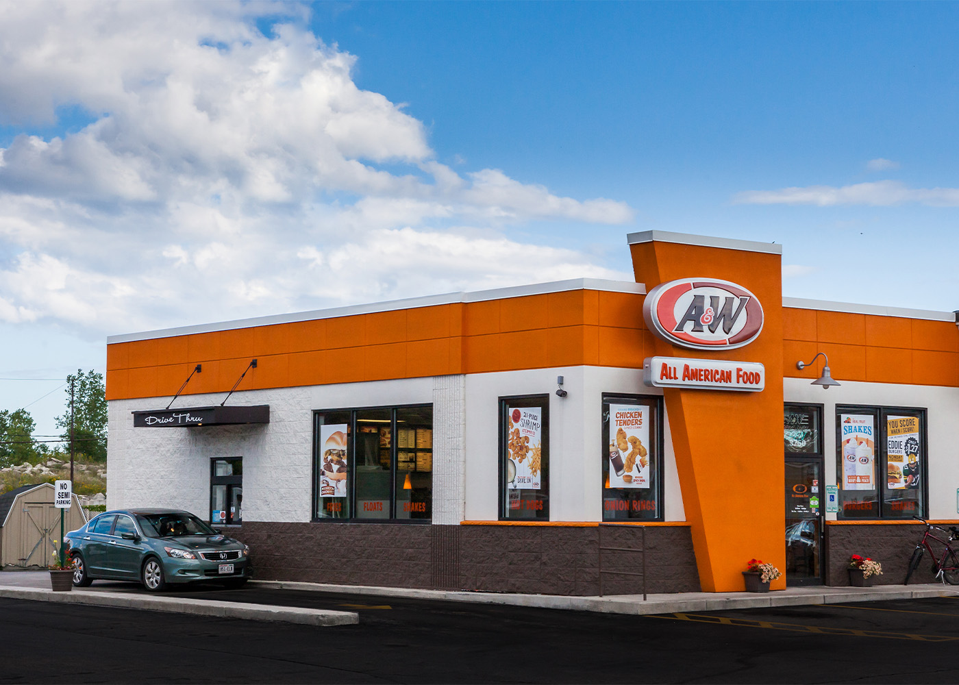Exterior photo of A&W Restaurant during the daytime.