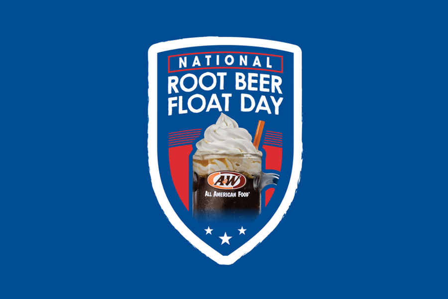Background is dark blue. Logo in the top center of the image is outlined in white. Image of an A&W Root Beer Float is inside. Text above the Float reads