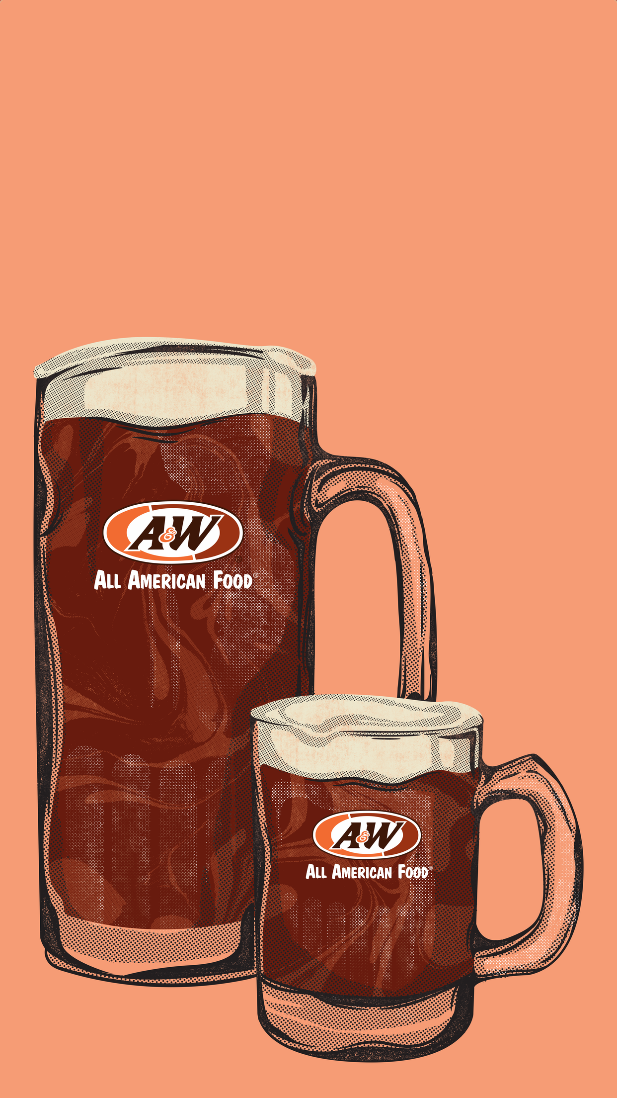 Two Root Beer Mugs on orange background