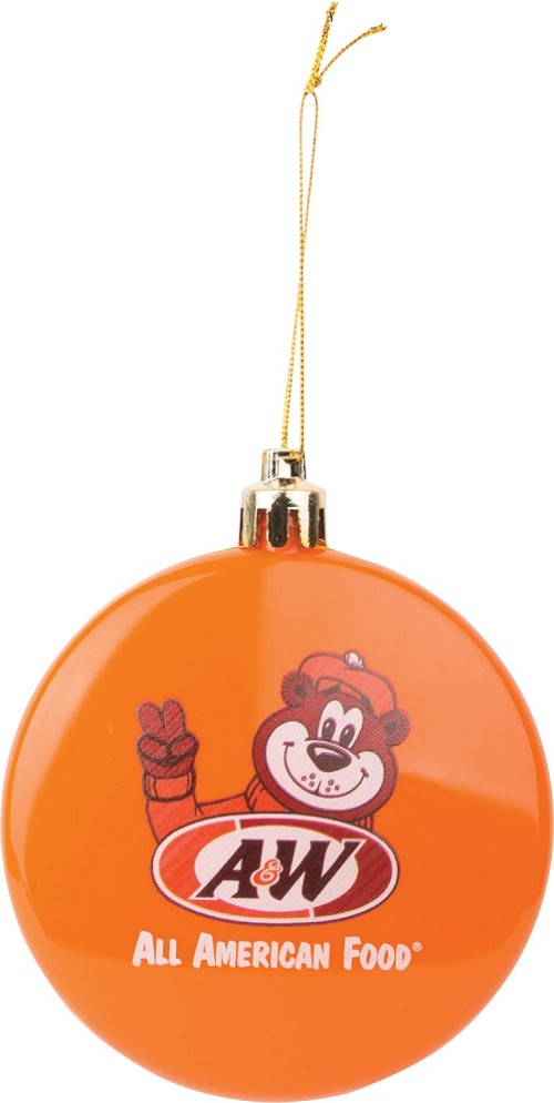 Orange ornament featuring Rooty the Great Root Bear