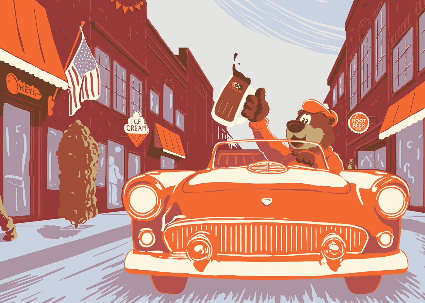 Artwork of Rooty the Great Root Bear driving in an orange car down Main Street. Rooty is holding a mug of A&W Root Beer in his right hand.