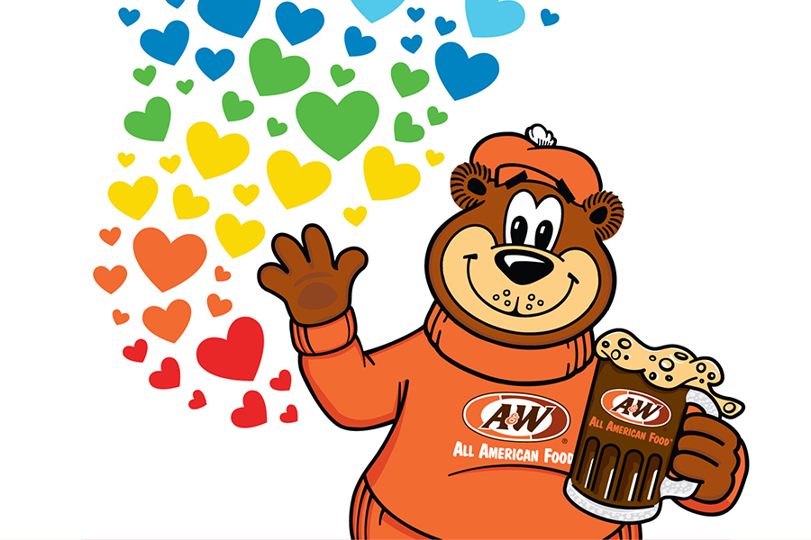Image of Rooty the Great Root Bear holding a mug of Root Beer in right hand. Colorful hearts are on the left side of the image.