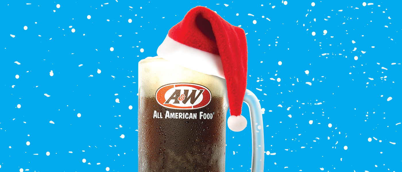 Background is blue with snow. Mug of A&W Root Beer is in the center wearing a Santa hat.