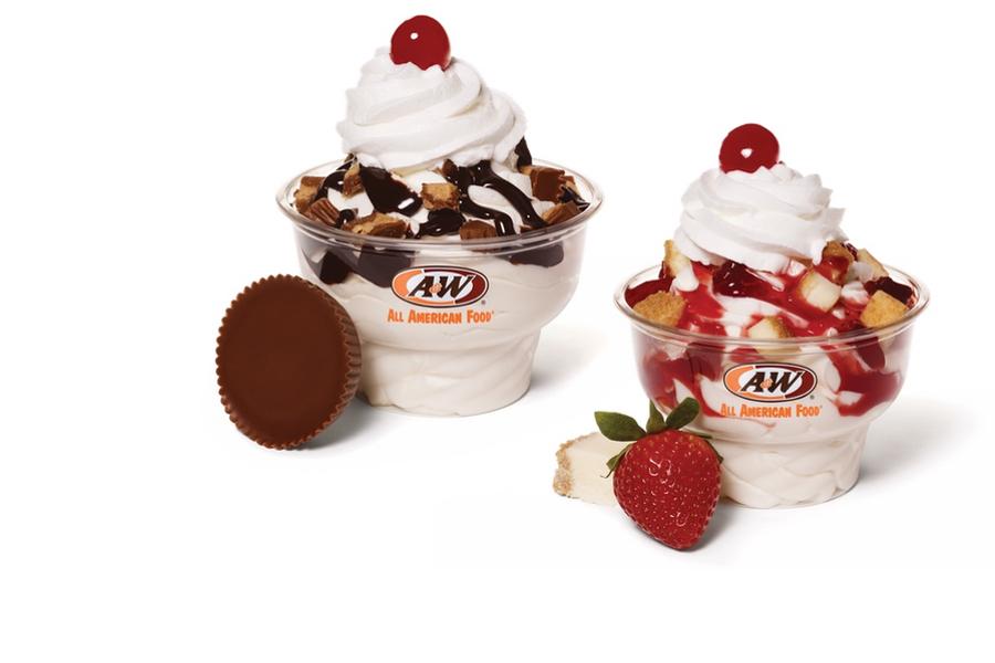 Strawberry Cheesecake Sundae & Hot Fudge Sundae made with Reese's