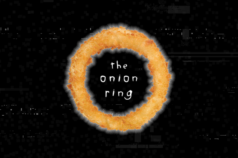Background is pixelated VHS-effect. Photo of A&W Onion Ring is in the center of the image. Text inside the Onion Ring is white and reads