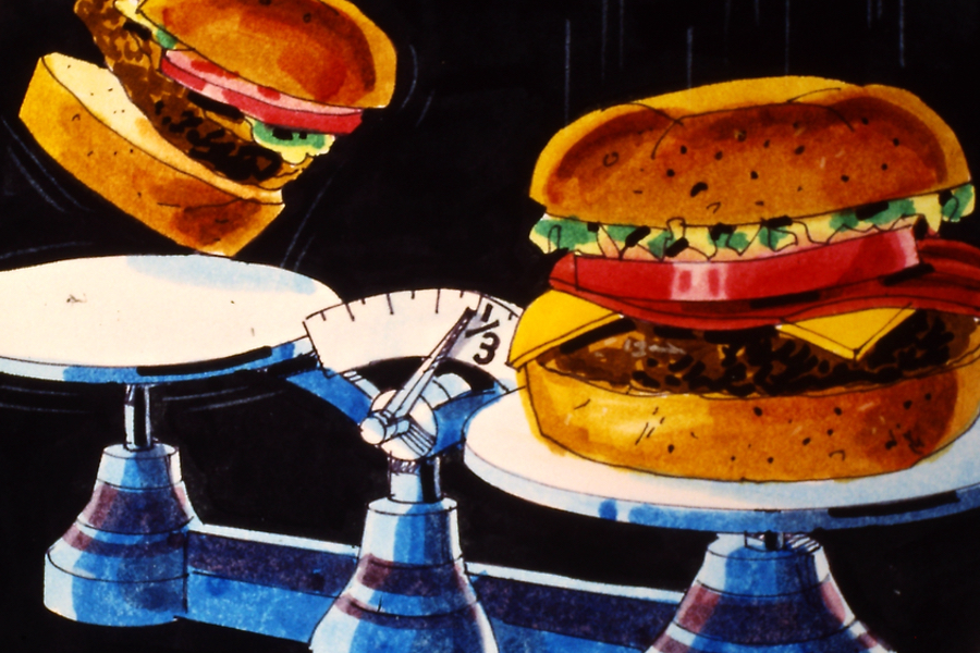 Vintage artwork of two burgers on a scale. The burger on the left scale is flying into the air and the burger in the right is falling lower. The burger on the right is listed as