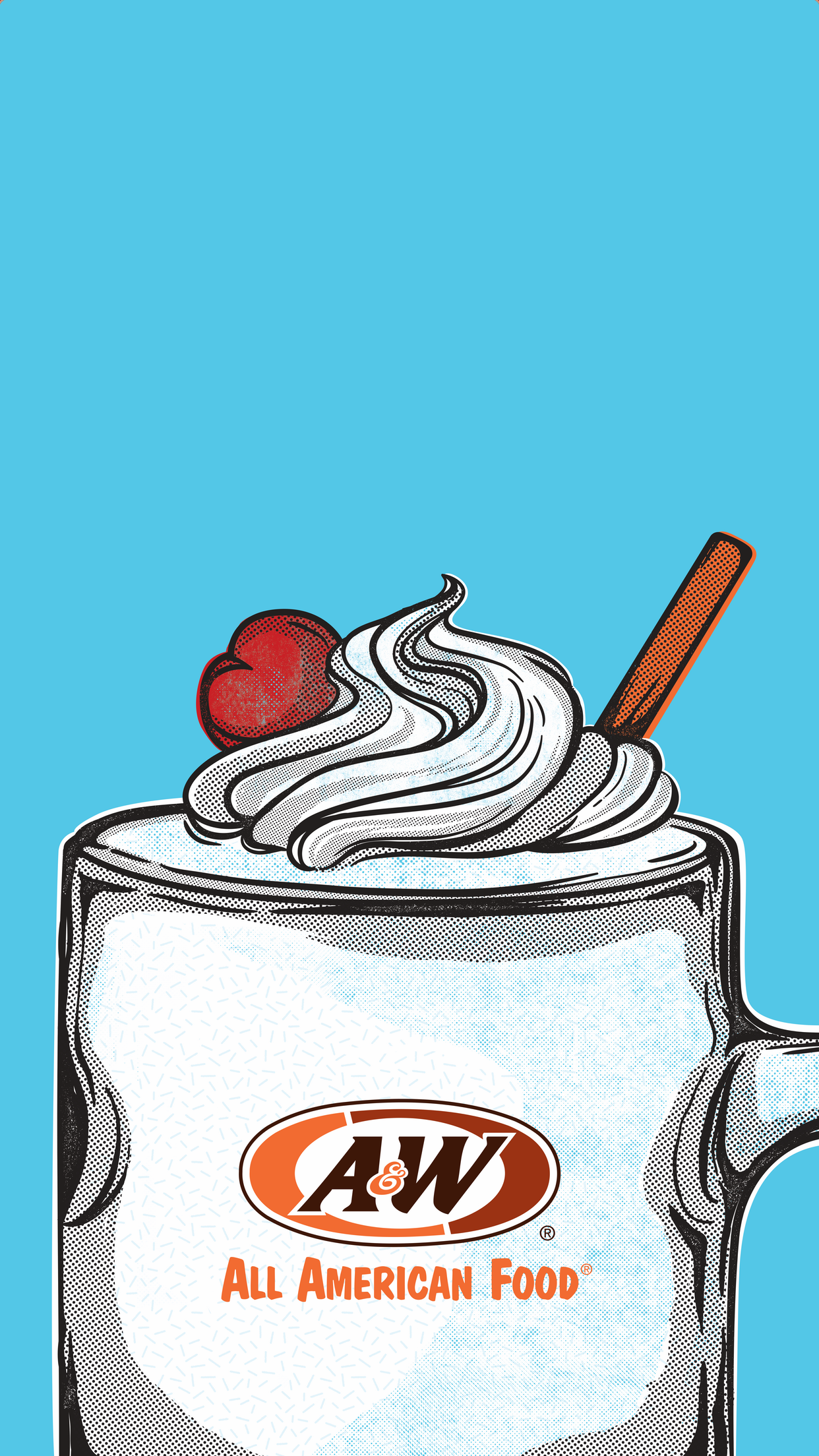 Vanilla shake on blue background