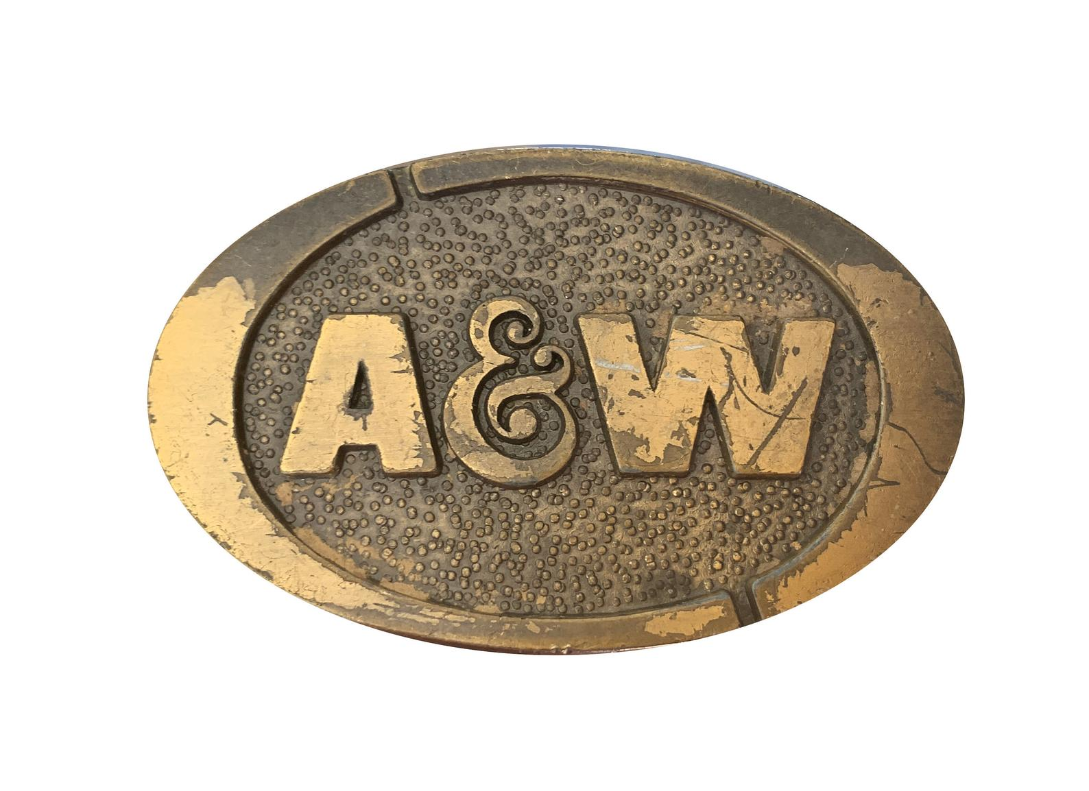 Solid brass belt buckle with A&W logo.