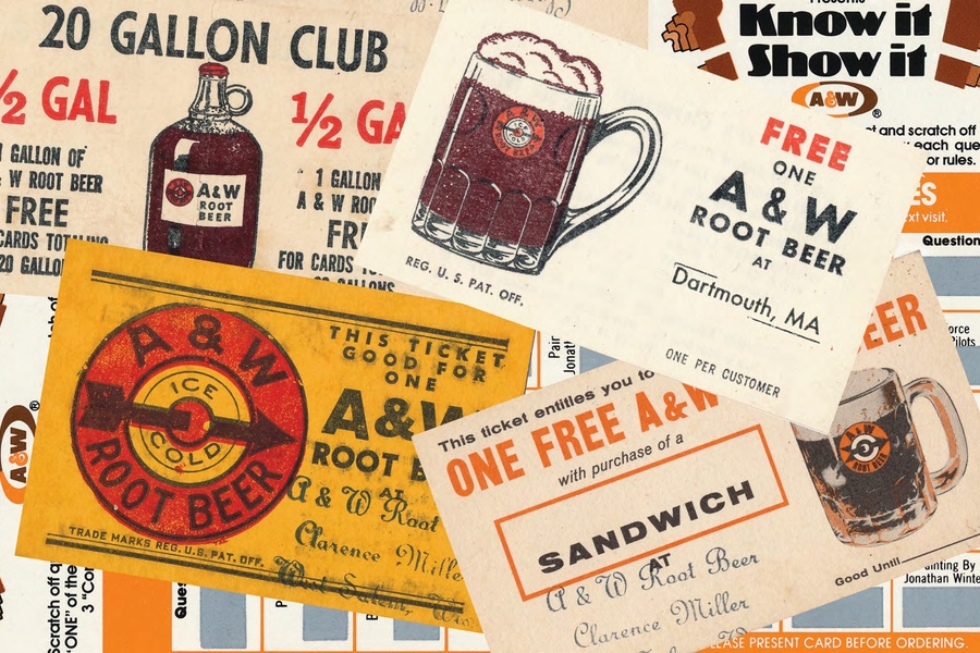 Collection of vintage A&W coupon cards from over the years.