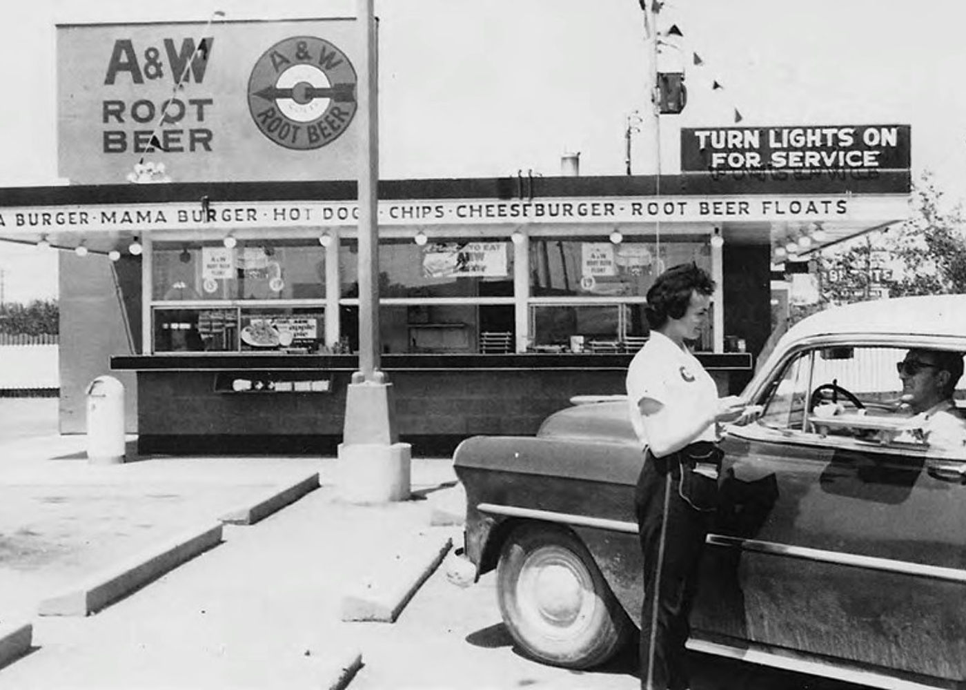 Black and White Photo of Vintage A&W Restaurant