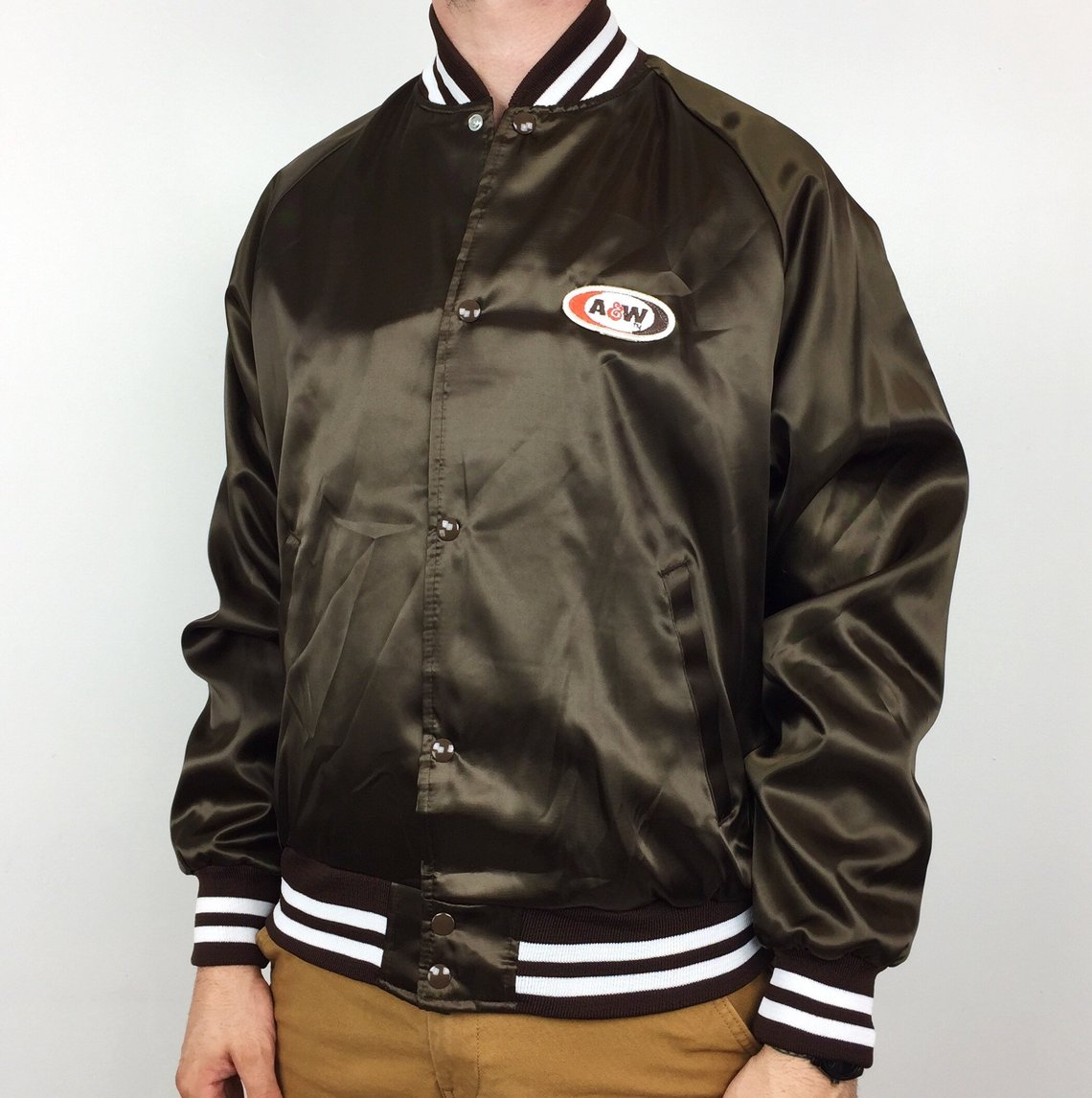 Vintage black nylon bomber jacket with A&W Restaurants logo patch