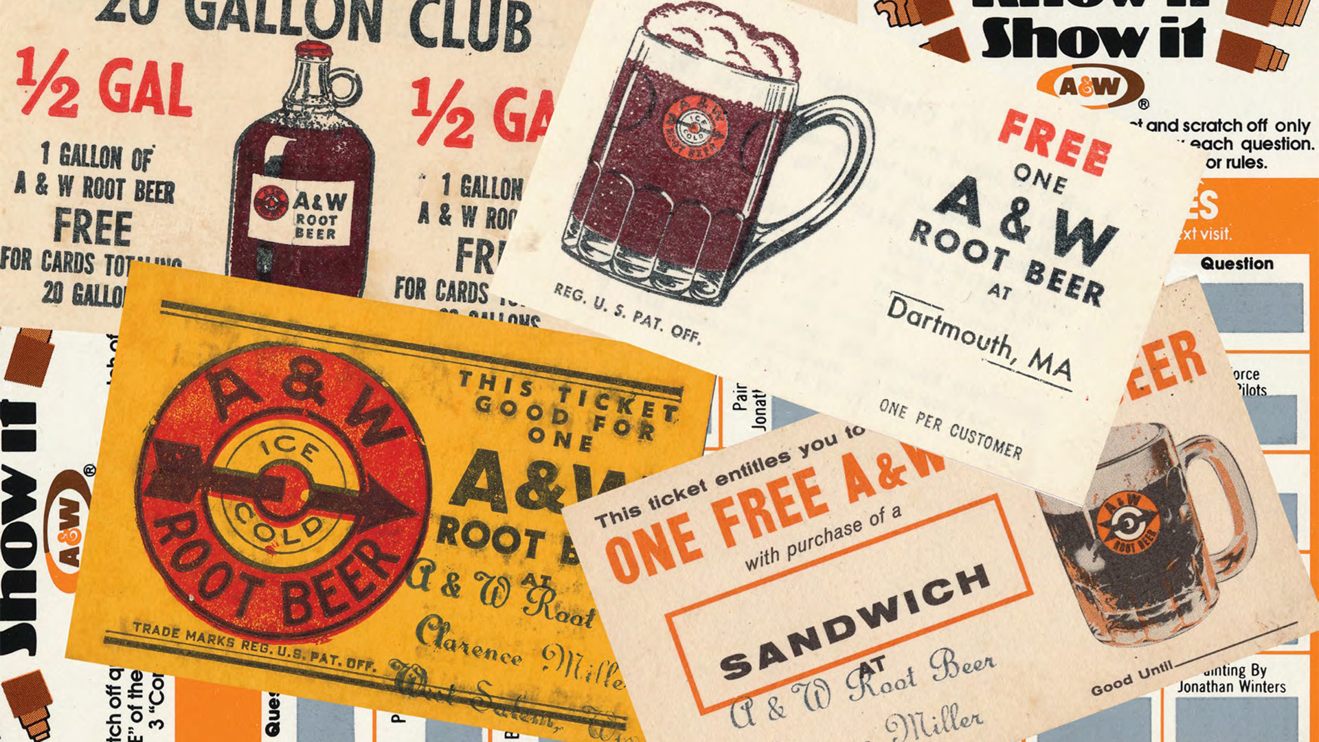 Collage of vintage A&W Restaurants coupons